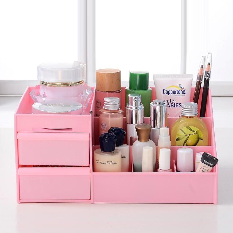 喜家家 大容量化妆品免组装桌面收纳盒